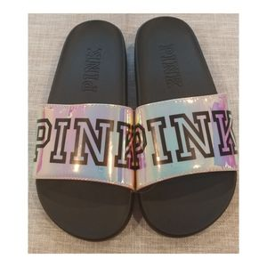 NWOT Victoria Secret PINK Iridescent Slides Small